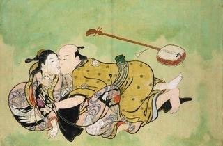 Nishikawa Sukenobu ('Sexual dalliance between man and geisha', c1711-16)