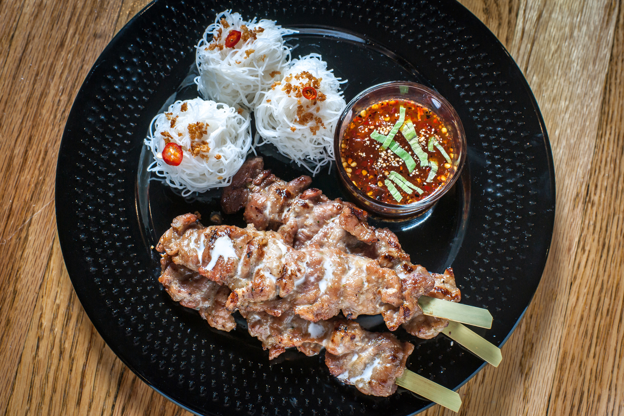 Mool Nue Ding Kati Sod (Grilled Coconut Milk Marinated Pork and Beef Skewers) at Somtum Der