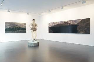 Stephan Balkenhol (Installation view of 'Ballerina', 'Wood' and 'Lake' and , 2013)