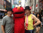 Patrick Stewart, Ian McKellen and Elmo in Times Square