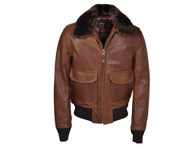 Schott NYC cowhide leather flight jacket with detachable mouton collar, $950