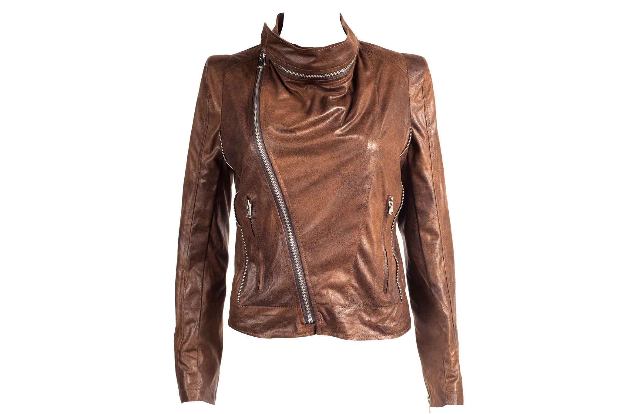 Pinkyotto zip-collar leather jacket, $268