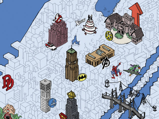Map of New York City for geeks: Where superheroes hang out