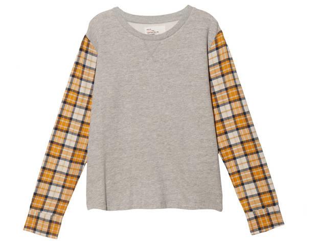 Leon & Harper plaid-sleeved sweatshirt, $176, at Otte