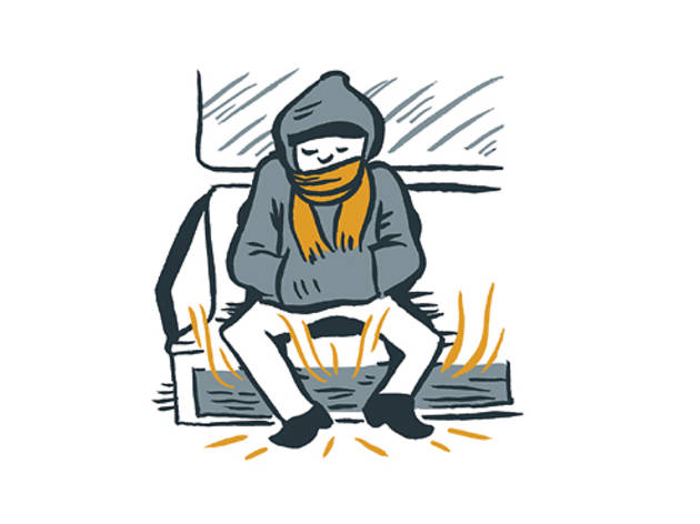 Warm up by sitting down