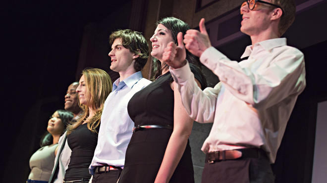 The Second City's current mainstage revue, Who Do We Think We Are?