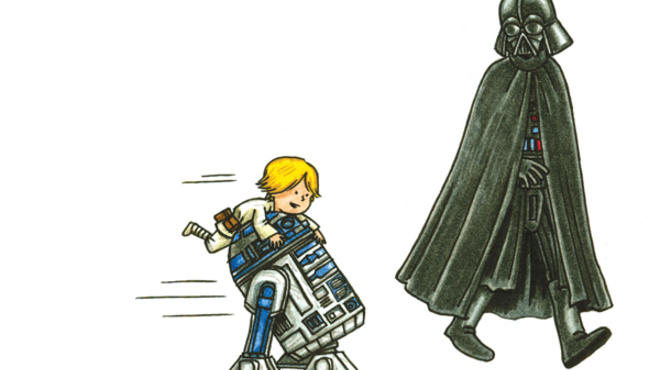 Darth Vader and Son, a picture book by Chicagoan Jeffrey Brown, includes amusing cameos by R2D2, Jar-Jar Binks and more.