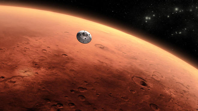 The Mars Science Laboratory in flight, as depicted in an artist's rendering.