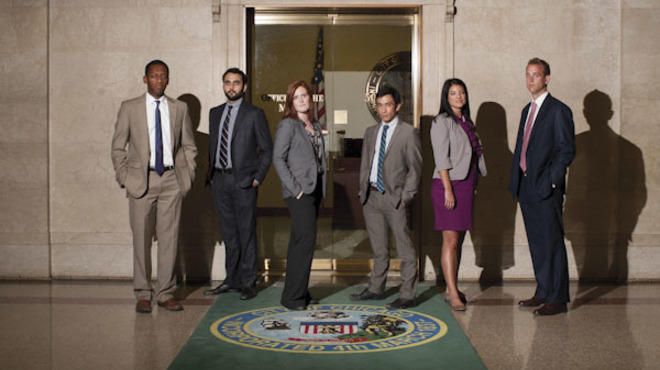 Emanuel's young staffers: Mike Simmons, from left, Ankur Thakkar, Caroline Weisser, Matt Fischler, Anna Valencia and Michael Faulman
