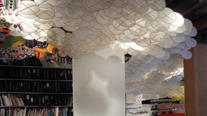 Jacob Hashimoto installation at Rhona Hoffman Gallery