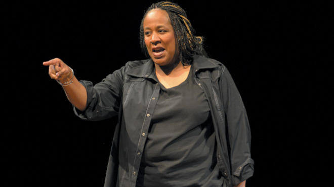 Dael Orlandersmith in Black N Blue Boys/Broken Men at Goodman Theatre