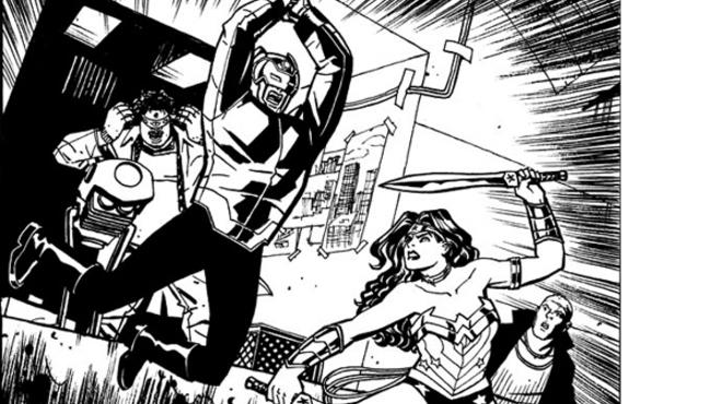 This exclusive sneak-peek panel of Wonder Woman #15 (on sale December 19), drawn by Cliff Chiang, shows Wonder Woman about to throw down with Orion, one of the New Gods.