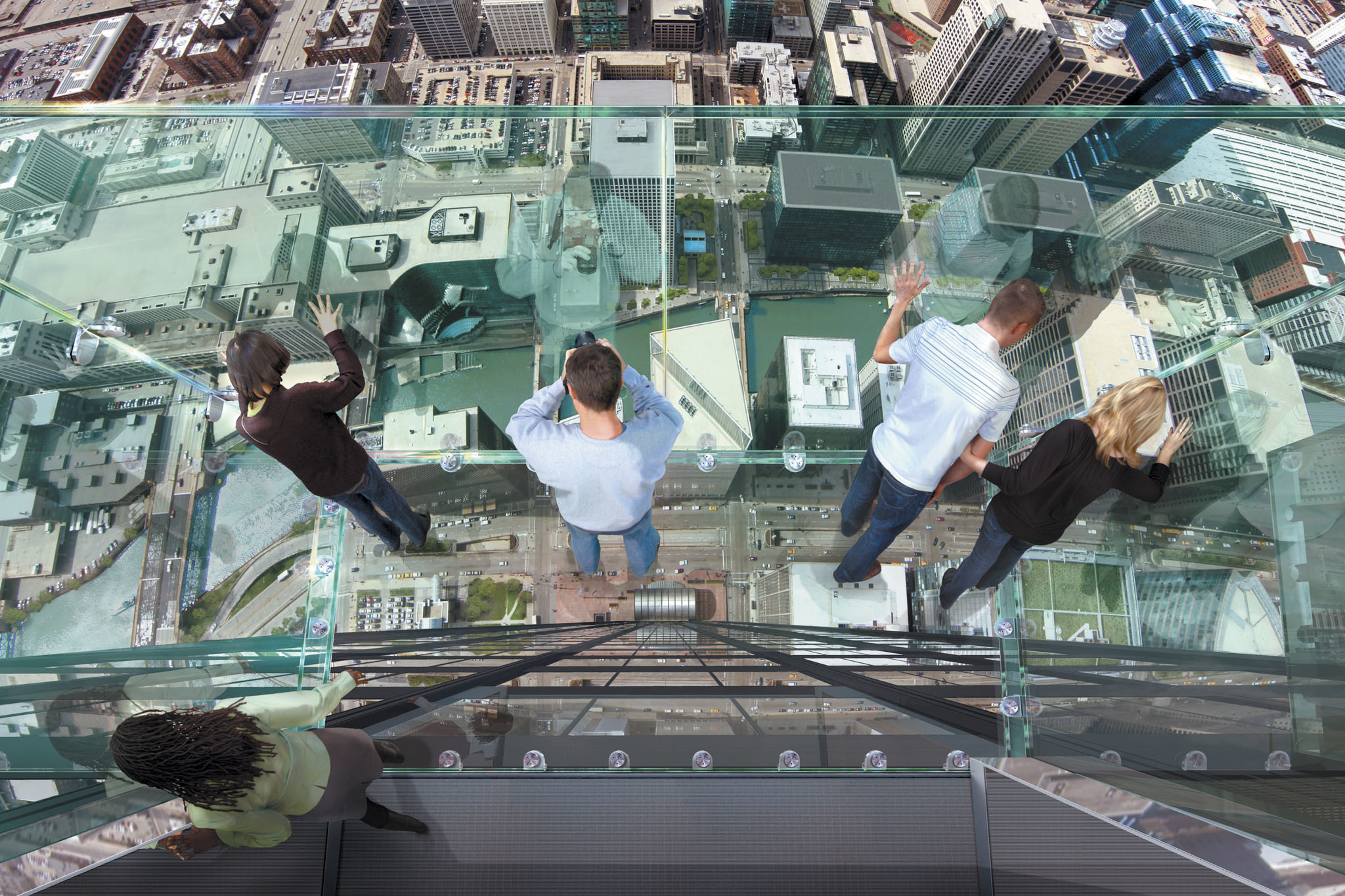 Look down on the city from the Willis Tower Skydeck