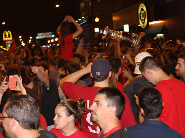 Blackhawks fans celebrate in Wrigleyville