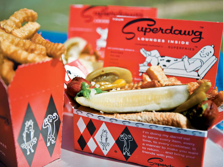 Scarf down a Chicago-style hot dog at Superdawg Drive-In