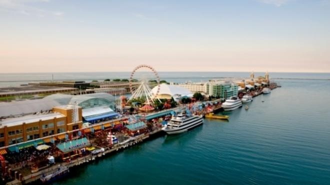 Best Chicago attractions: A top-down view of Navy Pier belies the logo-T insanity below.