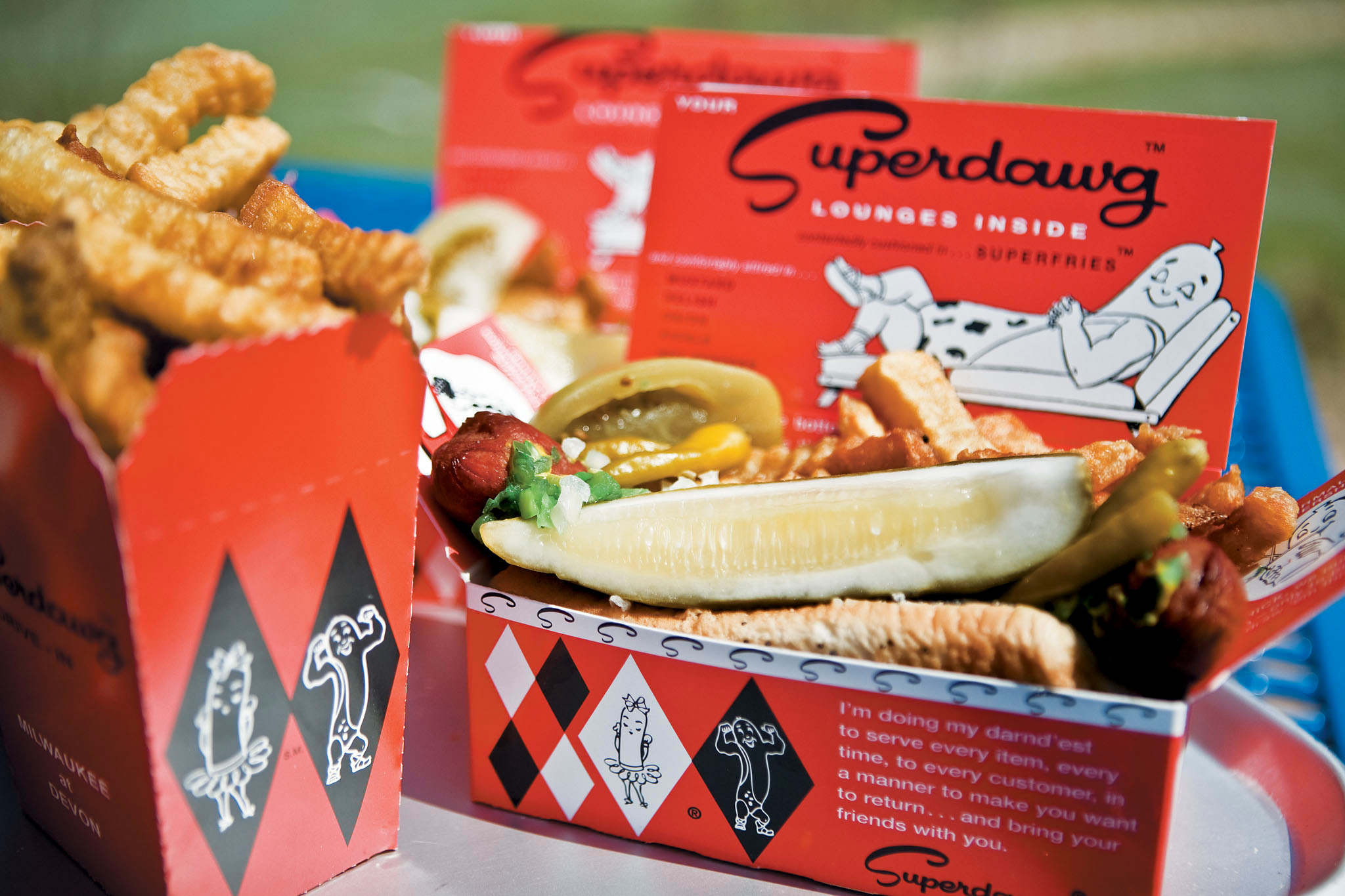 Try a Chicago-style hot dog at Superdawg