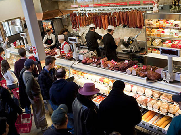 A busy Saturday afternoon at Gene's Sausage Shop in Lincoln Square.