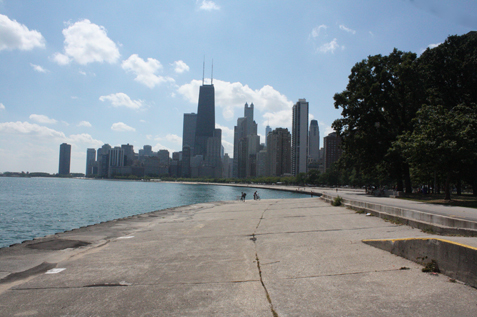 Go for a stroll on the Lakefront trail and see the city from afar
