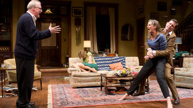 Tracy Letts, Carrie Coon, Amy Morton and Madison Dirks in the Steppenwolf production of Who's Afraid of Virginia Woolf?