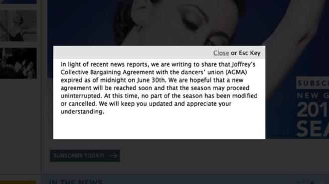 A screenshot of the Joffrey Ballet's website taken on July 5.