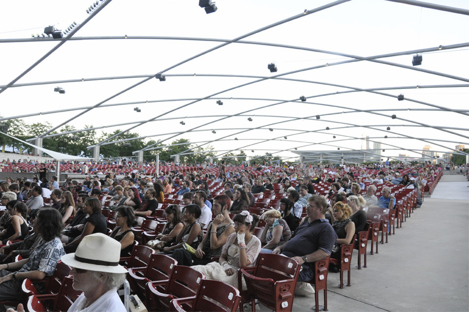 The crowd for Rasputina at Pritzker Pavilion in Millenium Park on August...