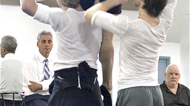 Chicago Mayor Rahm Emanuel watches Hubbard Street Dance Chicago rehearse SCARLATTI, by choreographer Twyla Tharp, at the company's West Loop studios in October.