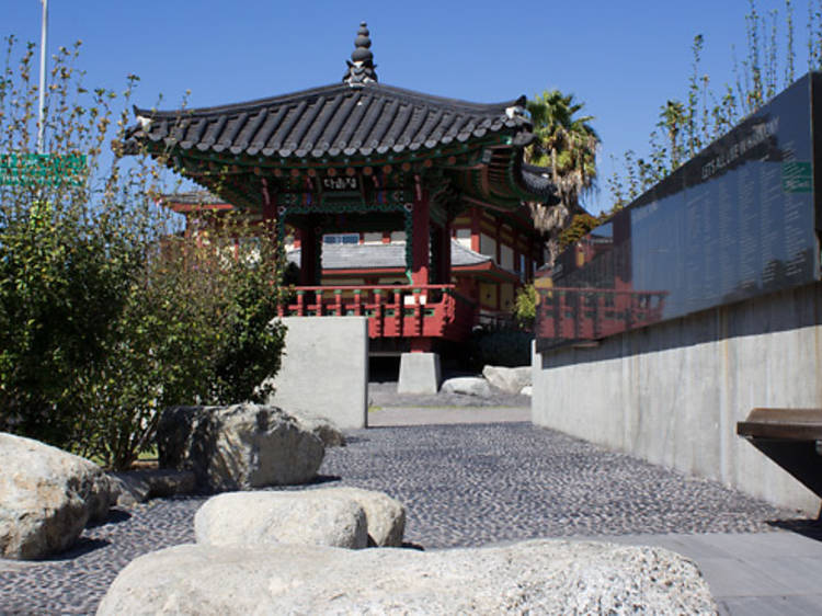 Sit in the shade of the Koreatown Pavilion Garden