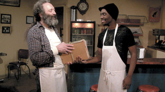 Richard Cotovsky and Preston Tate Jr. in Superior Donuts at Mary-Arrchie Theatre Company
