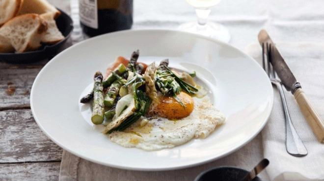 Grilled and Pickled Asparagus with Prosciutto and Fried Eggs from The Preservation Kitchen
