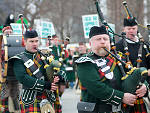 The Chicago Downtown St. Patrick's Day Parade marches up Columbus Drive from Balbo Ave on March 15.