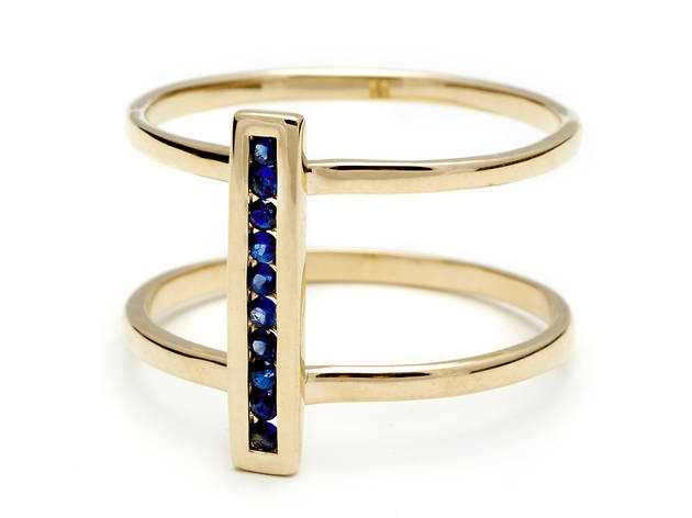 Anna Sheffield pavé two-tier yellow-gold ring, $1,695