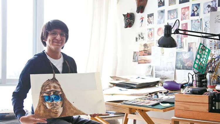 Richard Zela en su estudio (Foto: Alejandra Carbajal)