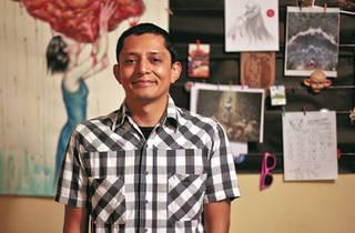 Abraham Balcázar en su estudio (Foto: Khrystell Zavaleta)