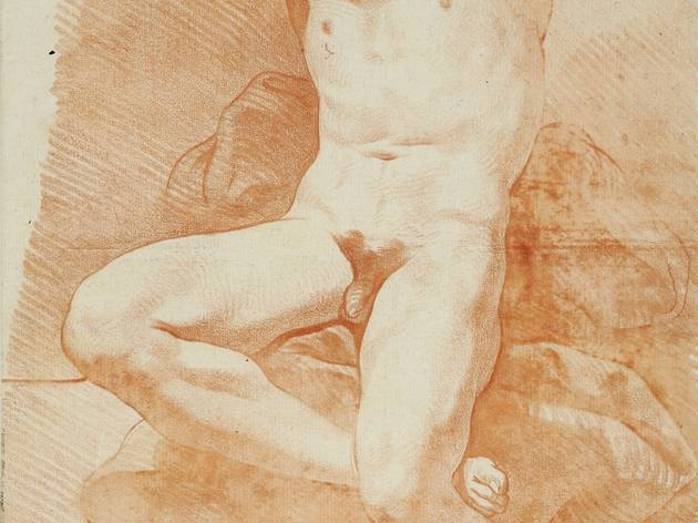 Carle Van Loo (Male seated, face on, arms raised (undated))