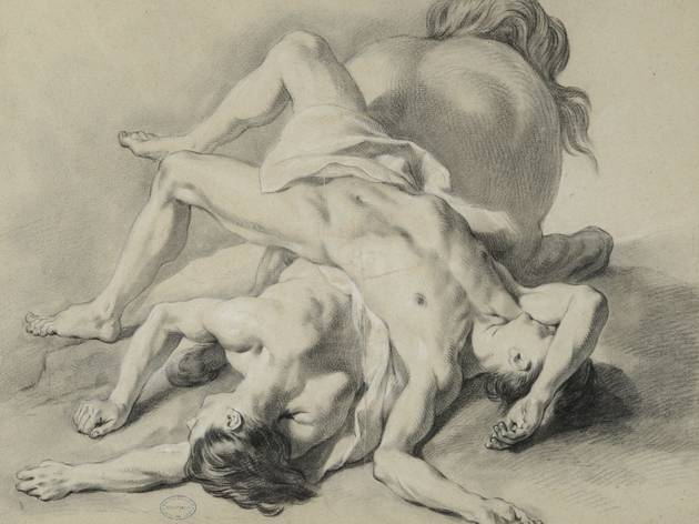 J-F de Troy ('Two men lying on the body of a horse' (undated))