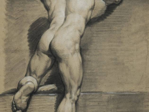 J Taraval ('Male, standing, viewed from the back, left knee raised' (undated))