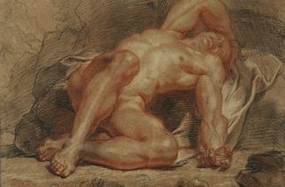 Coypel ('Man lying down, legs bent' (1687))