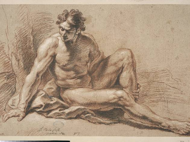 Charles de la Fosse ('Man seated on the ground, head turned to the left' (undated))