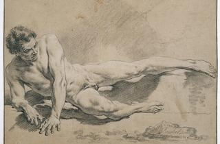 François Boucher ('Study of a man lying down…' (1739))