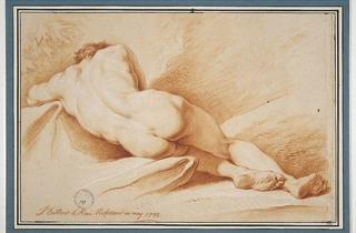 Dumont le Romain ('Nude man sleeping and leaning on a rock…' (1742))