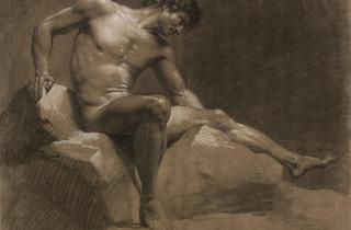 Isabey ('Seated man, leaning on his right arm' (1789))