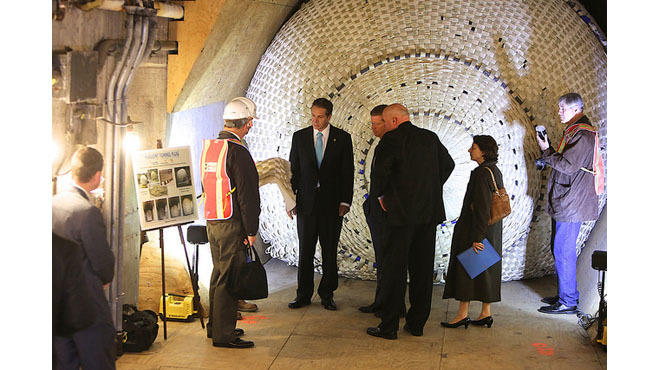 Governor Cuomo at the South Ferry subway station during his Sandy Resiliency Tour
