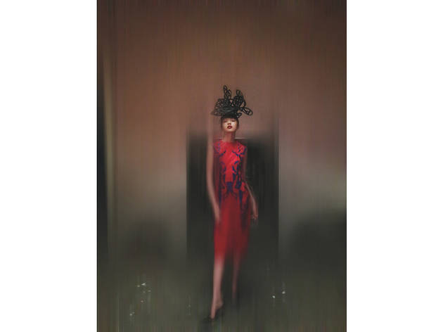 (Hat - Philip Treacy and Simon Periton, A/W 1999. Dress - Tristan Webber, S/S 2000. Shoes - Manolo Blahnik (© Nick Knight))
