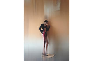 (Jacket - Alexander McQueen. Underwear - Rigby & Peller. Shoes - Manolo Blahnik (© Nick Knight))