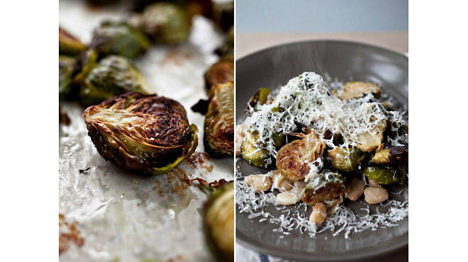 Brussels sprouts with white beans and pecorino from Not Without Salt
