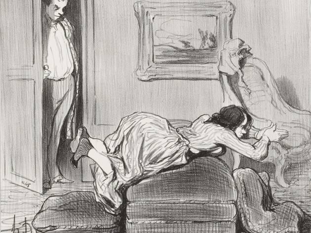 Honoré Daumier (A zealous student practicing at home (Une élève zélée travaillant à domicile) 'Les Baigneuses', Le Charivari, 9 August 1847)