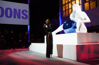 Lady Gaga unveils a flying dress at her album release party, art