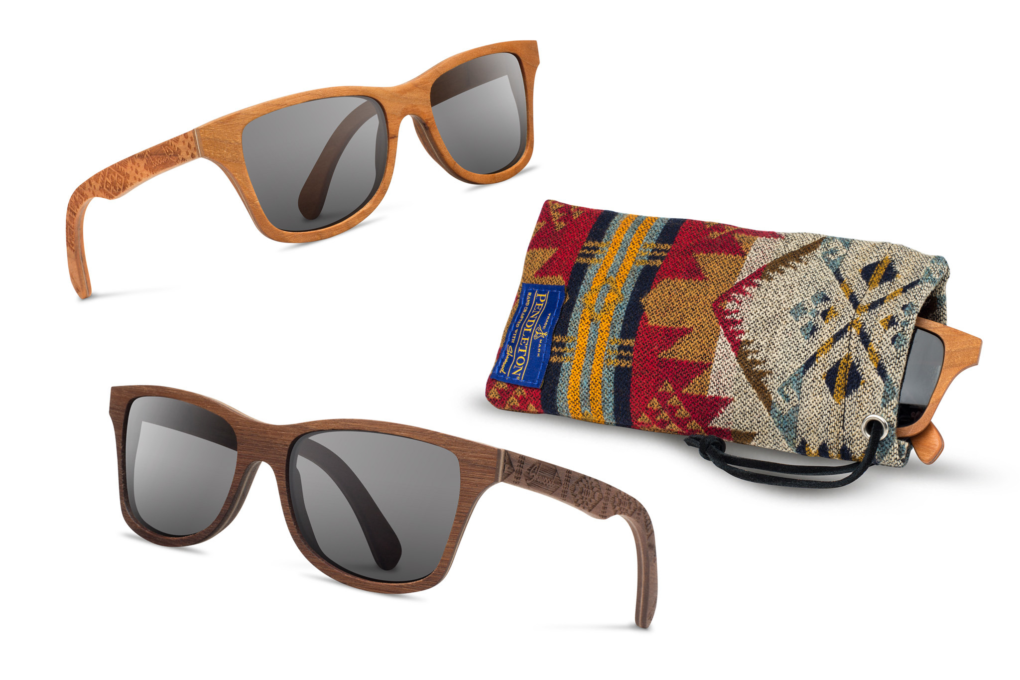 A pair of Shwood for Pendleton sunglasses