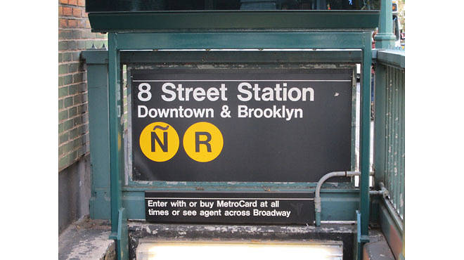 Z Street Art is changing the N train to the Ñ train in the New York City subway